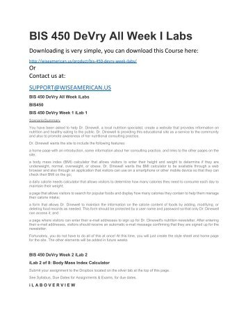 BIS 450 DeVry All Week I Labs