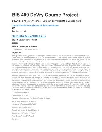 BIS 450 DeVry Course Project