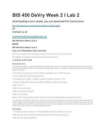 BIS 450 DeVry Week 2 I Lab 2