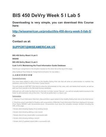BIS 450 DeVry Week 5 I Lab 5