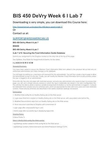 BIS 450 DeVry Week 6 I Lab 7