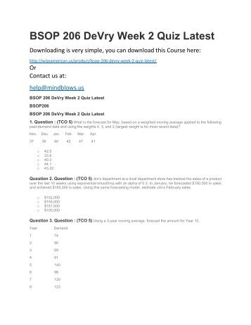 BSOP 206 DeVry Week 2 Quiz Latest