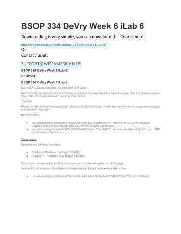 BSOP 334 DeVry Week 6 iLab 6