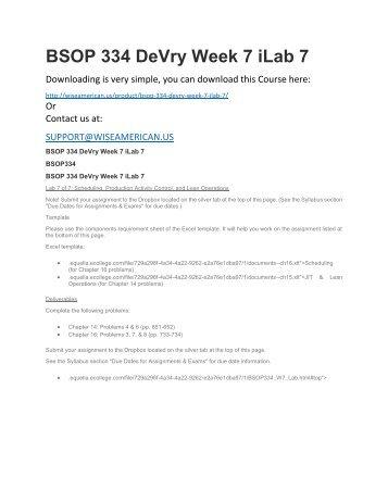 BSOP 334 DeVry Week 7 iLab 7