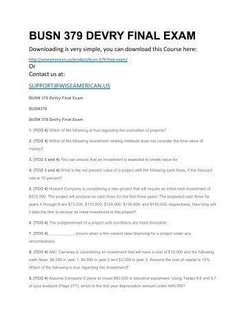 BUSN 379 DEVRY FINAL EXAM