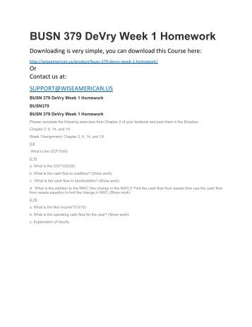 BUSN 379 DeVry Week 1 Homework