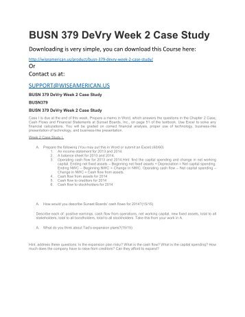 BUSN 379 DeVry Week 2 Case Study