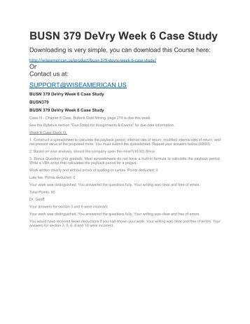 BUSN 379 DeVry Week 6 Case Study