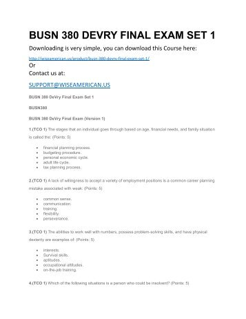 BUSN 380 DEVRY FINAL EXAM SET 1
