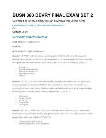 BUSN 380 DEVRY FINAL EXAM SET 2