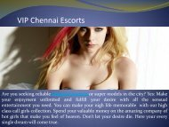 VIP Chennai Escorts Available for 5 Star Hotels