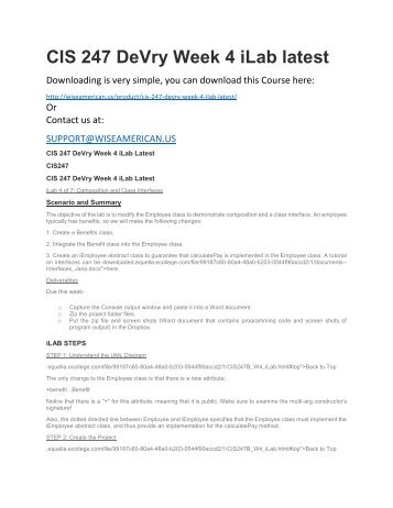 CIS 247 DeVry Week 4 iLab latest