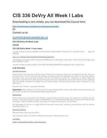CIS 336 DeVry All Week I Labs