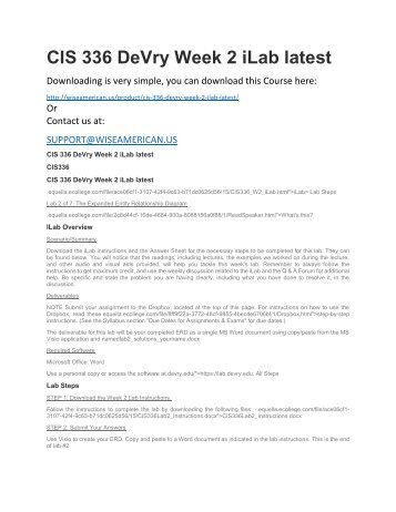 CIS 336 DeVry Week 2 iLab latest