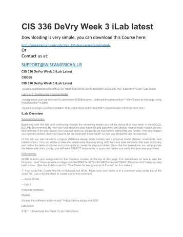 CIS 336 DeVry Week 3 iLab latest