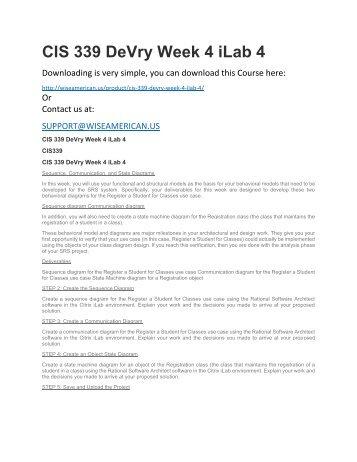 CIS 339 DeVry Week 4 iLab 4