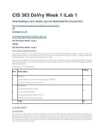 CIS 363 DeVry Week 1 iLab 1