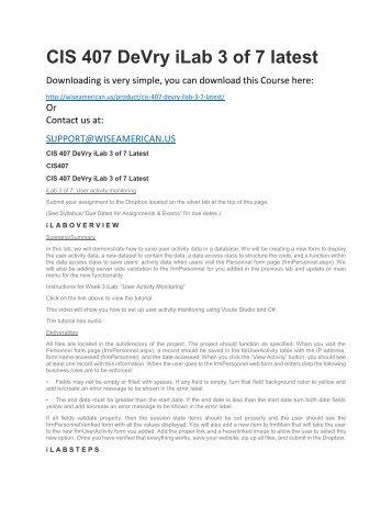 CIS 407 DeVry iLab 3 of 7 latest