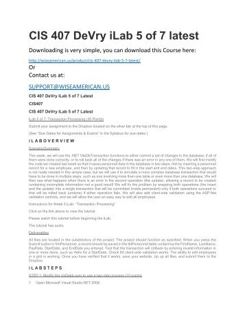 CIS 407 DeVry iLab 5 of 7 latest