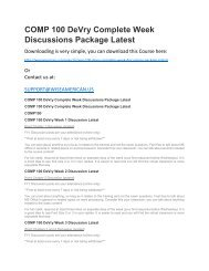 COMP 100 DeVry Complete Week Discussions Package Latest