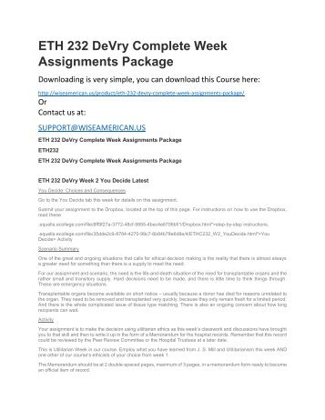 ETH 232 DeVry Complete Week Assignments Package