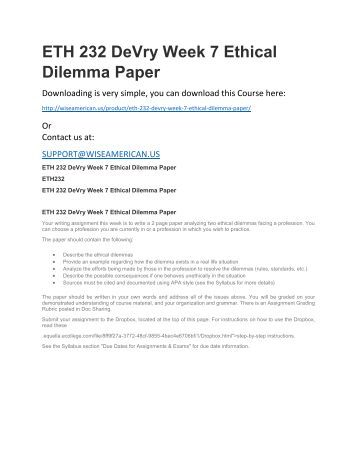 a description of an ethical dilemma essay