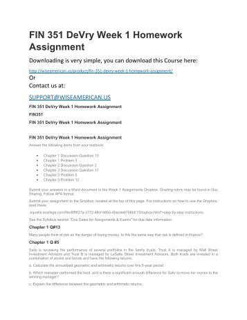 devry homework week 1 Devry fin 516 week 1 homework check this a+ tutorial guideline at   for.