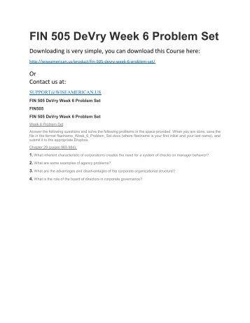 FIN 505 DeVry Week 6 Problem Set
