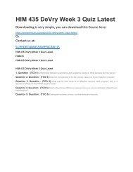 HIM 435 DeVry Week 3 Quiz Latest