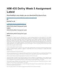 HIM 435 DeVry Week 5 Assignment Latest