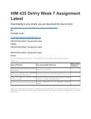 HIM 435 DeVry Week 7 Assignment Latest