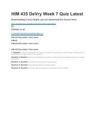 HIM 435 DeVry Week 7 Quiz Latest