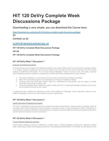 HIT 120 DeVry Complete Week Discussions Package