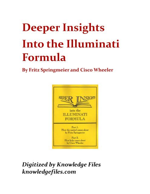 Springmeier Wheeler Deeper Insights Into The Illuminati