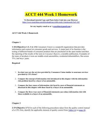 ACCT 444 Week 1 Homework