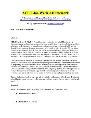 ACCT 444 Week 2 Homework