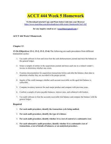 ACCT 444 Week 5 Homework