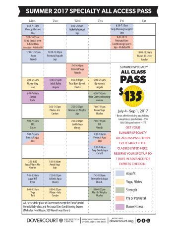 Dovercourt Summer 2017 Specialty fitness All-Access Pass