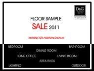 Floor sample sale 2011 - D & G Art Design Gallery