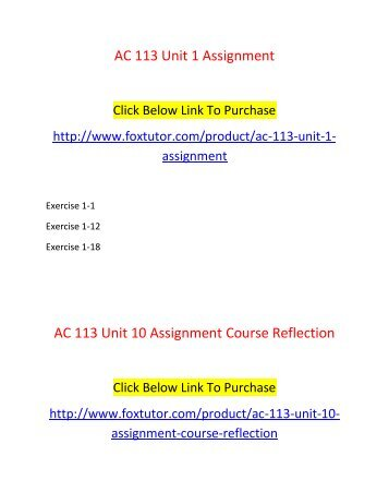 AC 113 All Assignments