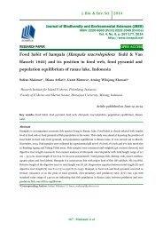 Food habit of hampala (Hampala macrolepidota Kuhl & Van Hasselt 1823) and its position in food web, food pyramid and population equilibrium of ranau lake, Indonesia