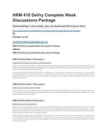 HRM 410 DeVry Complete Week Discussions Package