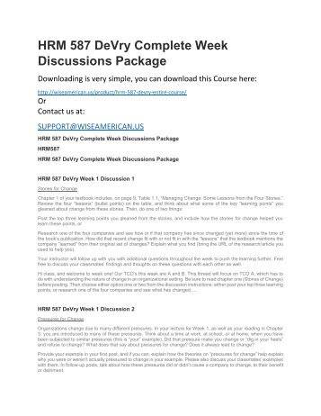 HRM 587 DeVry Complete Week Discussions Package
