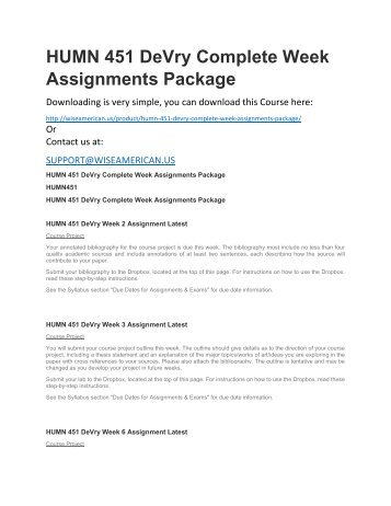 HUMN 451 DeVry Complete Week Assignments Package