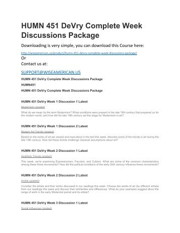 HUMN 451 DeVry Complete Week Discussions Package