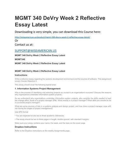 Mgmt 340 Devry Week 2 Reflective Essay Latest