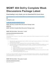 MGMT 404 DeVry Complete Week Discussions Package Latest