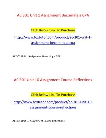 AC 301 All Assignments