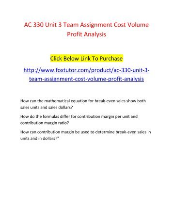cost volume profit analysis assignment sample Video created by university of illinois at urbana-champaign for the course managerial accounting: cost behaviors, systems, and analysis cost-volume-profit (cvp.