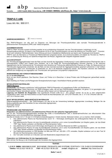 TRAP-6 (1 mM) Loxo Art.-Nr.: 900 011 - Loxo GmbH